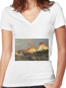 Thomas Moran - Green River Cliffs, Wyoming. Mountains landscape: mountains, rocks, rocky nature, sky and clouds, trees, peak, forest, Canyon, hill, travel, hillside Women's Fitted V-Neck T-Shirt