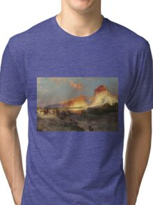 Thomas Moran - Green River Cliffs, Wyoming. Mountains landscape: mountains, rocks, rocky nature, sky and clouds, trees, peak, forest, Canyon, hill, travel, hillside Tri-blend T-Shirt