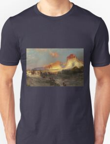 Thomas Moran - Green River Cliffs, Wyoming. Mountains landscape: mountains, rocks, rocky nature, sky and clouds, trees, peak, forest, Canyon, hill, travel, hillside Unisex T-Shirt