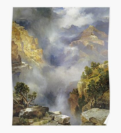 Thomas Moran - Mist In The Canyon. Mountains landscape: mountains, rocks, rocky nature, sky and clouds, trees, peak, forest, rustic, hill, travel, hillside Poster