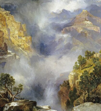 Thomas Moran - Mist In The Canyon. Mountains landscape: mountains, rocks, rocky nature, sky and clouds, trees, peak, forest, rustic, hill, travel, hillside Sticker