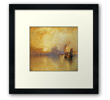 Thomas Moran - Opalescent Venice. Sea landscape: sea view,  yachts,  holiday, sailing boat, coast seaside, waves and beach, marine, seascape, sun clouds, nautical, ocean Framed Print