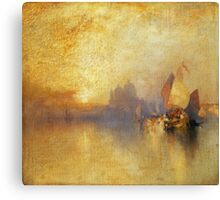 Thomas Moran - Opalescent Venice. Sea landscape: sea view,  yachts,  holiday, sailing boat, coast seaside, waves and beach, marine, seascape, sun clouds, nautical, ocean Canvas Print