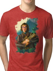"""Twin Peaks The Log Lady  """"The Log Knows"""" Tri-blend T-Shirt"""