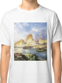 Thomas Moran - Green River, Wyoming. Mountains landscape: mountains, rocks, rocky nature, sky and clouds, trees, peak, forest, Canyon, hill, travel, hillside Classic T-Shirt