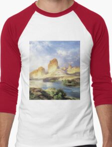Thomas Moran - Green River, Wyoming. Mountains landscape: mountains, rocks, rocky nature, sky and clouds, trees, peak, forest, Canyon, hill, travel, hillside Men's Baseball ¾ T-Shirt