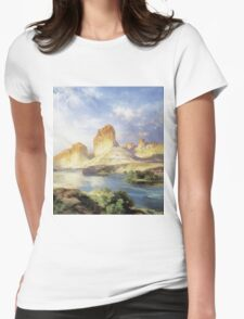 Thomas Moran - Green River, Wyoming. Mountains landscape: mountains, rocks, rocky nature, sky and clouds, trees, peak, forest, Canyon, hill, travel, hillside Womens Fitted T-Shirt
