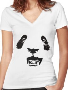 FACE -OSO WOO- Women's Fitted V-Neck T-Shirt