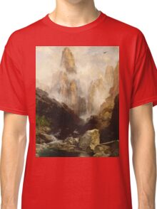 Thomas Moran - Mist In Kanab Canyon, Utah . Mountains landscape: mountains, rocks, rocky nature, sky and clouds, trees, peak, forest, Canyon, hill, travel, hillside Classic T-Shirt