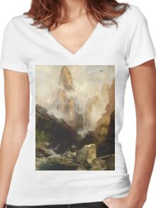 Thomas Moran - Mist In Kanab Canyon, Utah . Mountains landscape: mountains, rocks, rocky nature, sky and clouds, trees, peak, forest, Canyon, hill, travel, hillside Women's Fitted V-Neck T-Shirt