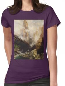Thomas Moran - Mist In Kanab Canyon, Utah . Mountains landscape: mountains, rocks, rocky nature, sky and clouds, trees, peak, forest, Canyon, hill, travel, hillside Womens Fitted T-Shirt