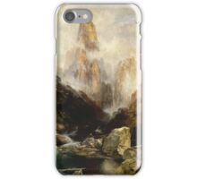 Thomas Moran - Mist In Kanab Canyon, Utah . Mountains landscape: mountains, rocks, rocky nature, sky and clouds, trees, peak, forest, Canyon, hill, travel, hillside iPhone Case/Skin