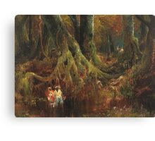 Thomas Moran - Slave Hunt. Forest view: forest , trees,  fauna, nature, birds, animals, flora, flowers, plants, field, weekend Canvas Print
