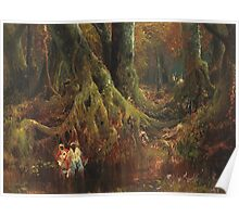 Thomas Moran - Slave Hunt. Forest view: forest , trees,  fauna, nature, birds, animals, flora, flowers, plants, field, weekend Poster