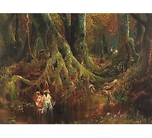 Thomas Moran - Slave Hunt. Forest view: forest , trees,  fauna, nature, birds, animals, flora, flowers, plants, field, weekend Photographic Print
