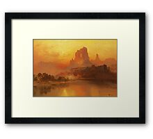 Thomas Moran - The Golden Hour . Mountains landscape: mountains, rocks, rocky nature, sky and clouds, trees, peak, forest, rustic, hill, travel, hillside Framed Print