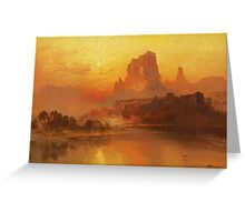 Thomas Moran - The Golden Hour . Mountains landscape: mountains, rocks, rocky nature, sky and clouds, trees, peak, forest, rustic, hill, travel, hillside Greeting Card