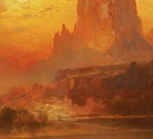 Thomas Moran - The Golden Hour . Mountains landscape: mountains, rocks, rocky nature, sky and clouds, trees, peak, forest, rustic, hill, travel, hillside Sticker