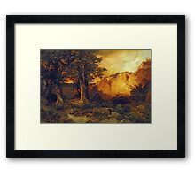 Thomas Moran - The Grand Canyon. Mountains landscape: mountains, rocks, rocky nature, sky and clouds, trees, peak, forest, rustic, hill, travel, hillside Framed Print