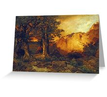 Thomas Moran - The Grand Canyon. Mountains landscape: mountains, rocks, rocky nature, sky and clouds, trees, peak, forest, rustic, hill, travel, hillside Greeting Card