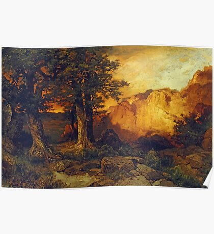 Thomas Moran - The Grand Canyon. Mountains landscape: mountains, rocks, rocky nature, sky and clouds, trees, peak, forest, rustic, hill, travel, hillside Poster