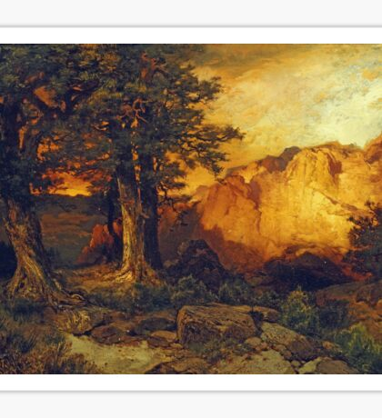 Thomas Moran - The Grand Canyon. Mountains landscape: mountains, rocks, rocky nature, sky and clouds, trees, peak, forest, rustic, hill, travel, hillside Sticker