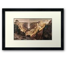 Thomas Moran - The Grand Canyon Of The Yellowstone . Mountains landscape: mountains, rocks, rocky nature, sky and clouds, trees, peak, forest, rustic, hill, travel, hillside Framed Print