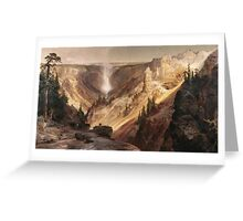 Thomas Moran - The Grand Canyon Of The Yellowstone . Mountains landscape: mountains, rocks, rocky nature, sky and clouds, trees, peak, forest, rustic, hill, travel, hillside Greeting Card