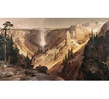 Thomas Moran - The Grand Canyon Of The Yellowstone . Mountains landscape: mountains, rocks, rocky nature, sky and clouds, trees, peak, forest, rustic, hill, travel, hillside Photographic Print