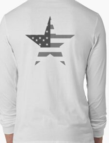 AMERICAN, STAR, Stars & Stripes, America, US, USA, Black on White Long Sleeve T-Shirt