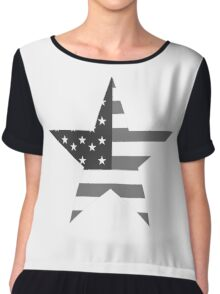 AMERICAN, STAR, Stars & Stripes, America, US, USA, Black on White Chiffon Top
