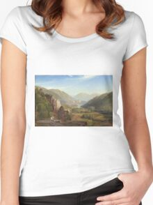 Thomas Moran - The Juniata, Evening. Mountains landscape: mountains, rocks, rocky nature, sky and clouds, trees, peak, forest, rustic, hill, travel, hillside Women's Fitted Scoop T-Shirt