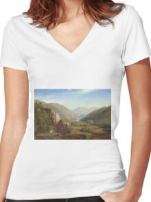 Thomas Moran - The Juniata, Evening. Mountains landscape: mountains, rocks, rocky nature, sky and clouds, trees, peak, forest, rustic, hill, travel, hillside Women's Fitted V-Neck T-Shirt