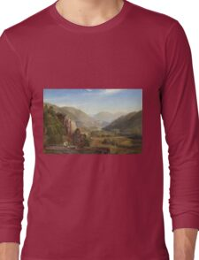 Thomas Moran - The Juniata, Evening. Mountains landscape: mountains, rocks, rocky nature, sky and clouds, trees, peak, forest, rustic, hill, travel, hillside Long Sleeve T-Shirt