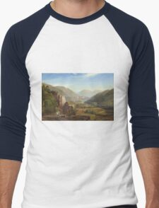 Thomas Moran - The Juniata, Evening. Mountains landscape: mountains, rocks, rocky nature, sky and clouds, trees, peak, forest, rustic, hill, travel, hillside Men's Baseball ¾ T-Shirt