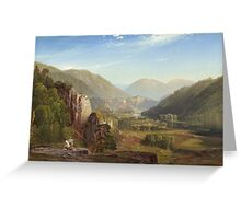 Thomas Moran - The Juniata, Evening. Mountains landscape: mountains, rocks, rocky nature, sky and clouds, trees, peak, forest, rustic, hill, travel, hillside Greeting Card