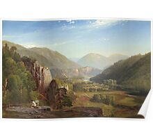 Thomas Moran - The Juniata, Evening. Mountains landscape: mountains, rocks, rocky nature, sky and clouds, trees, peak, forest, rustic, hill, travel, hillside Poster