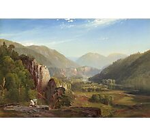 Thomas Moran - The Juniata, Evening. Mountains landscape: mountains, rocks, rocky nature, sky and clouds, trees, peak, forest, rustic, hill, travel, hillside Photographic Print