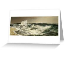 Thomas Moran - The Much Resounding Sea. Sea landscape: sea view,  yachts,  holiday, sailing boat, coast seaside, waves and beach, marine, seascape, sun clouds, nautical, ocean Greeting Card