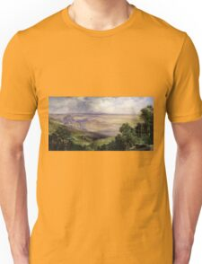 Thomas Moran - Valley Of Cuernavaca 1903. Mountains landscape: mountains, rocks, rocky nature, sky and clouds, trees, peak, forest, rustic, hill, travel, hillside Unisex T-Shirt