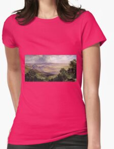 Thomas Moran - Valley Of Cuernavaca 1903. Mountains landscape: mountains, rocks, rocky nature, sky and clouds, trees, peak, forest, rustic, hill, travel, hillside Womens Fitted T-Shirt