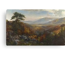 Thomas Moran - Valley Of The Catawissa In Autumn. Mountains landscape: mountains, rocks, rocky nature, sky and clouds, trees, peak, forest, rustic, hill, travel, hillside Canvas Print