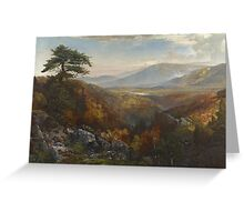 Thomas Moran - Valley Of The Catawissa In Autumn. Mountains landscape: mountains, rocks, rocky nature, sky and clouds, trees, peak, forest, rustic, hill, travel, hillside Greeting Card
