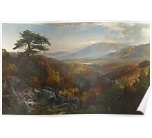 Thomas Moran - Valley Of The Catawissa In Autumn. Mountains landscape: mountains, rocks, rocky nature, sky and clouds, trees, peak, forest, rustic, hill, travel, hillside Poster