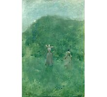 Thomas Wilmer Dewing - Summer. Forest view: forest , summer,  fauna, nature, flowers, woman, weekend ,dreams, love, charm, emerald Photographic Print