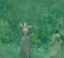 Thomas Wilmer Dewing - Summer. Forest view: forest , summer,  fauna, nature, flowers, woman, weekend ,dreams, love, charm, emerald Sticker