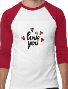 I love you hand lettering feelings happiness heart sign recognition Men's Baseball ¾ T-Shirt