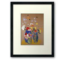 Odilon Redon - Three Vases Of Flowers. Still life with flowers: flowers, blossom, nature, botanical, floral flora, wonderful flower, plants, cute plant for kitchen interior, garden, vase Framed Print