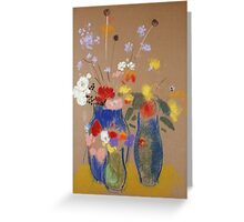 Odilon Redon - Three Vases Of Flowers. Still life with flowers: flowers, blossom, nature, botanical, floral flora, wonderful flower, plants, cute plant for kitchen interior, garden, vase Greeting Card