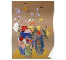 Odilon Redon - Three Vases Of Flowers. Still life with flowers: flowers, blossom, nature, botanical, floral flora, wonderful flower, plants, cute plant for kitchen interior, garden, vase Poster